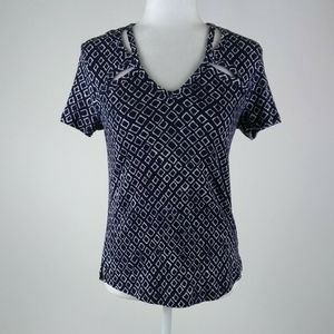 Cato navy and white stretch top size medium.
